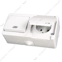 Блок выключатель с подсветкой/розетка с заземлением Gunsan NEMLI YER 0711182 белый