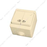 Выключатель двухклавишный Gunsan NEMLI YER 0712104 с подсветкой крем