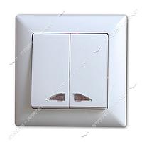 Выключатель двухклавишный Gunsan Visage G VS 2811104 с подсветкой