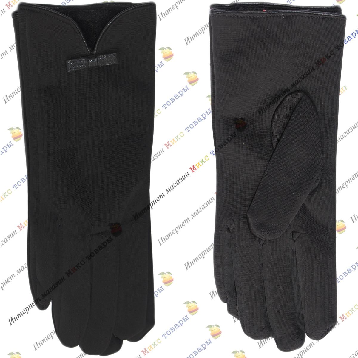 Женские черные перчатки Ластик с Махрой