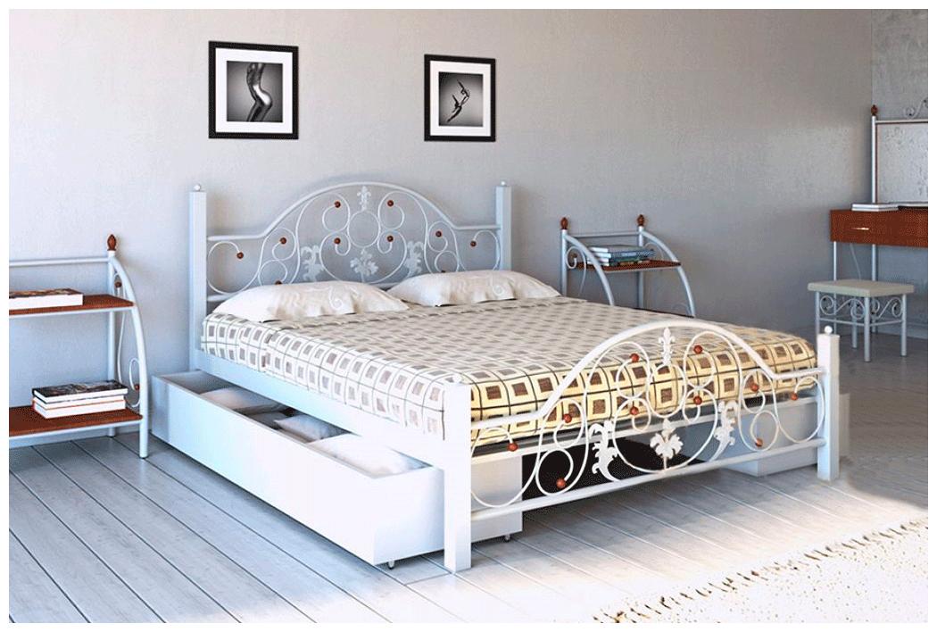 Кровать Жозефина белая 140*200 с двумя ящиками (Металл дизайн)
