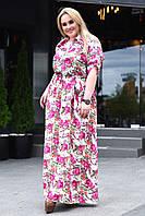 Вечерне платье больших размеров с цветочным принтом 9065