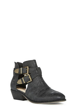Кожаные женские ботинки JustFab Womens Shaylene Black, фото 2