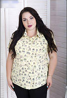 Летняя рубашка свободного кроя для крупных женщин, с 48-82 размер, фото 1
