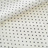 Ткань Батист горох 2мм (на белом черный)