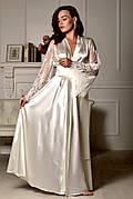 Длинный халат для невесты из атласа с кружевным рукавом Айвори (Шампань)