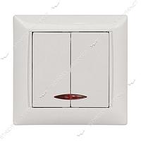 Выключатель двухклавишный LUXEL PRIMERA 3006 с подсветкой белый 10шт