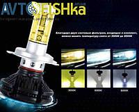 LED X3 лампи основного світла H4 8000к