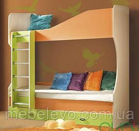 Моби кровать двухъярусная №1 1950х1950х870мм дуб венге светлый + оранж + лайм   Скай