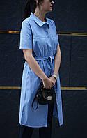 Платье-рубашка голубое, фото 1
