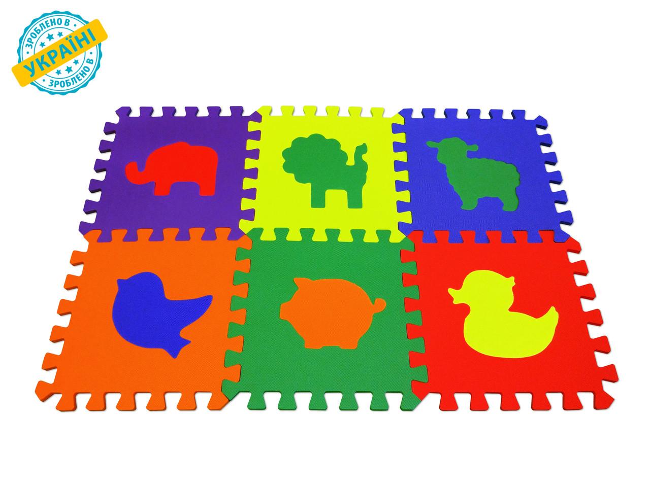 """Мягкий игровой пол (коврик-пазл 30*30*1 см) Eva-Line """"Зоопарк"""" разноцветный"""