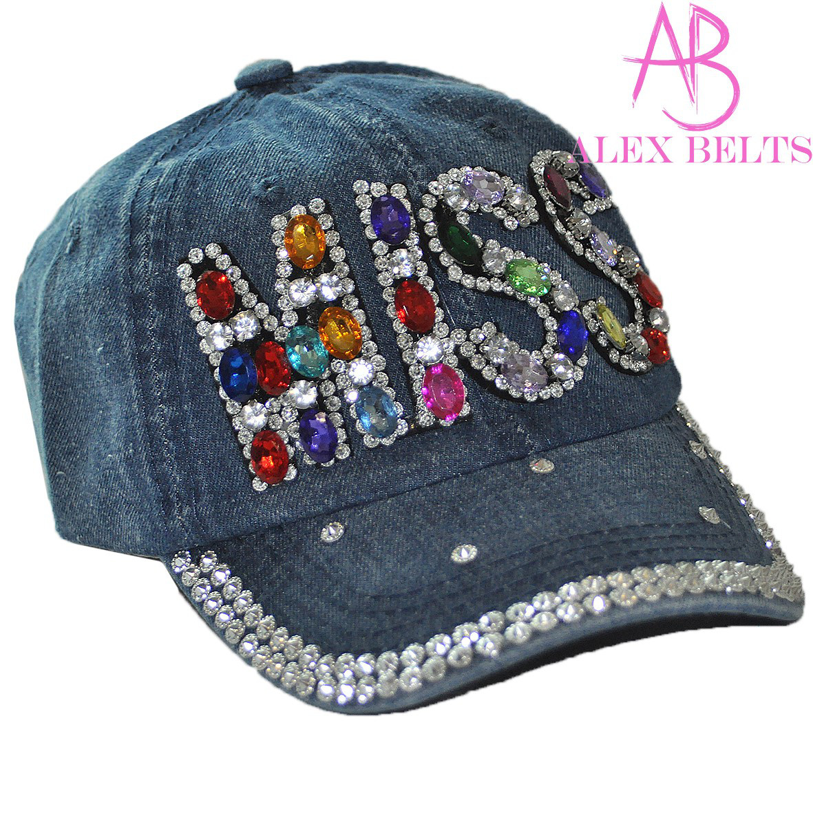 Бейсболка подростковая джинсовая, оптом, 7 км, головные уборы оптом, кепка девочка, кепка со стразами