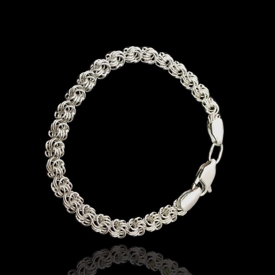 Серебряный браслет, 180мм, 9 грамм, плетение Роза