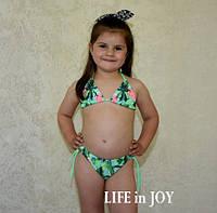 Купальник детский пляжный раздельный для девочки 5 лет зеленый на завязках