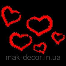 виниловая наклейка - 5 шт сердечки
