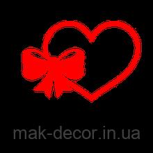 виниловая наклейка - сердце и бантик