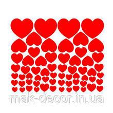 Виниловая наклейка -  Набор сердец 40х50 см