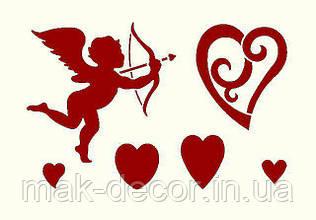 виниловая наклейка -  набор сердец (разных) и купидон