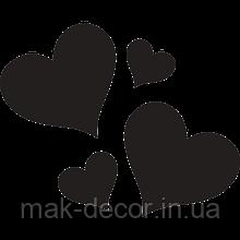 виниловая наклейка - 4 сердечка