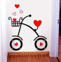 виниловая наклейка - Велосипед и сердечки
