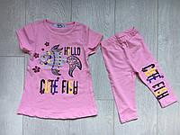 """Летний детский костюм для девочки 2-6лет,""""Рыбка"""",розовогоцвета"""