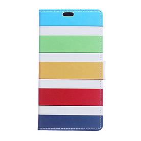 Чехол книжка для Huawei Honor 9 Lite боковой с отсеком для визиток, Разноцветные полоски