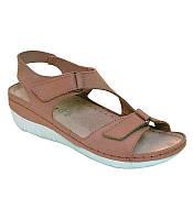 Женские кожаные сандалии на платформе песочного цвета Inblu CB-5U