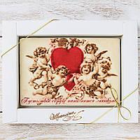 """Шоколадная открытка """"Пусть твое сердце наполниться..."""" классическое сырье. Размер: 187х142х10 мм, вес 170г"""