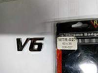 Надпись V6 металл  60х36 мм