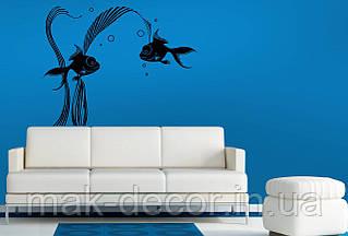 Вінілова інтер'єрна наклейка -Риби і водорості (ціна за розмір 60х78 см)