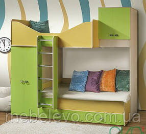Моби кровать двухъярусная №2 2170х2660х870мм дуб венге светлый + танжерин + лайм