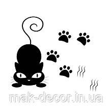 Виниловая наклейка на авто - кот и лапки
