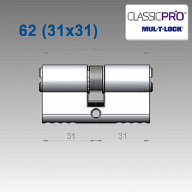 Цилиндр Mul-T-Lock Classic PRO 62 мм (31x31)