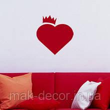 Виниловая наклейка -  сердце корона (60х60 см)