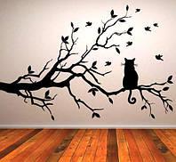 Виниловая интерьерная наклейка - Дерево и кот (цена за размер 60х89 см)