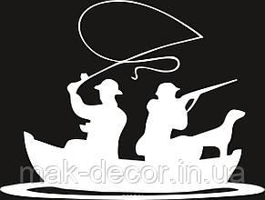 Виниловая наклейка - рыбак охотник в лодке (цена за размер 11х15 см)