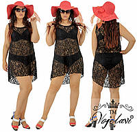 Пляжное гипюровое женское платье № 593