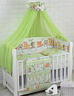 """Детская постель «ASIK» ( 8 эл.), расцветка """"Белки, совы и лисички"""" салатового цвета №164."""