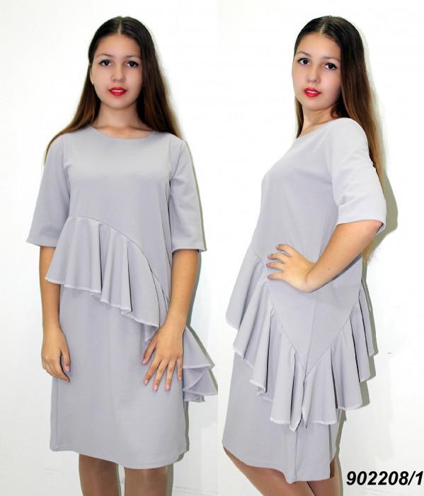 Платье однотонное с оборкой  42,44,46,48