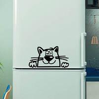 Виниловая наклейка на холодильник -Кот выглядывает
