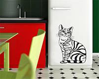 Виниловая наклейка на холодильник -котик полосатый