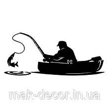 Виниловая наклейка - рыбак в лодке