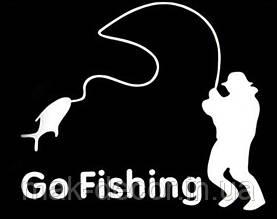 Виниловая наклейка - рыбак  00