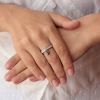 "Серебреное кольцо ""Тиффани с замочком"" 17.5 000059407"
