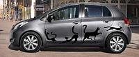 Виниловая наклейка на авто - на дверь Коты