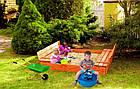 Деревянная песочница с лавочками для детей Just Fun 120 х 120 см, фото 5