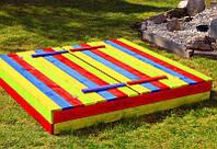 Деревянная песочница с лавочками для детей 150 х 154 см, фото 1