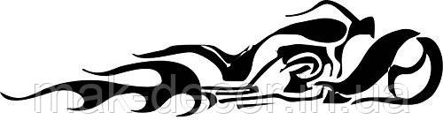 Вінілова наклейка на авто - огненый мотоцикл