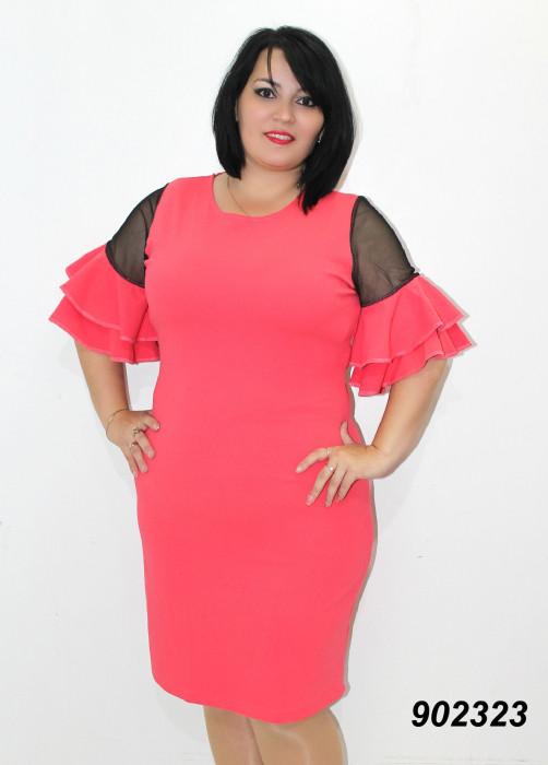 Платье нарядное с шифоном и оборками 50,52,54,56