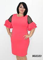 Платье нарядное с шифоном и оборками 50,52,54,56, фото 1